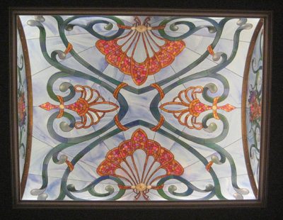 barrel ceiling trompe l'oeil stain glass mural