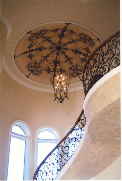 Trompe l'oeil ornamental wrought iron on a dome ceiling