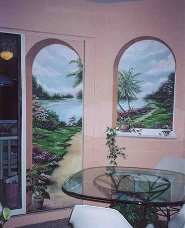 the garden path, trompe l'oeil mural