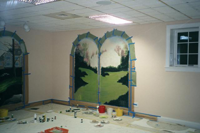 trompe l'oeil mural with arches